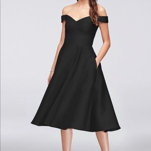 David's Bridal Off the Shoulder Tea-length dress